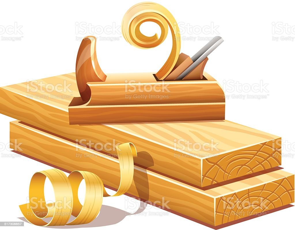 Rasped wooden boards by planer tool and filings sawdusts vector art illustration