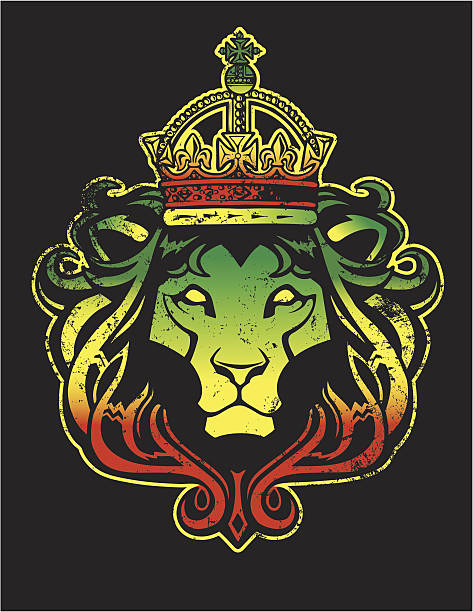 Rasta Lion Rastafarian style Lion of Judah. The distress texture is separate and can be removed. rastafarian stock illustrations