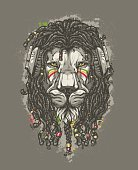 Rasta Lion with headphones