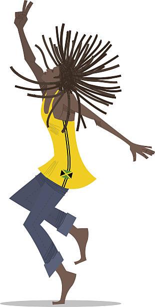 Rastafári homem dançando Reggae - ilustração de arte em vetor