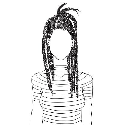 Rasta woman doodle avatar isolated on white