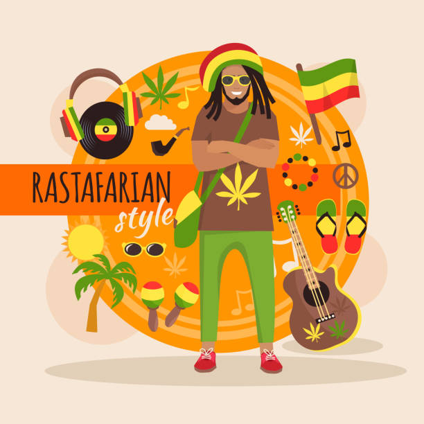 rastafarian character Male rastafarian character pack with stylish accessory and objects vector illustration rastafarian stock illustrations