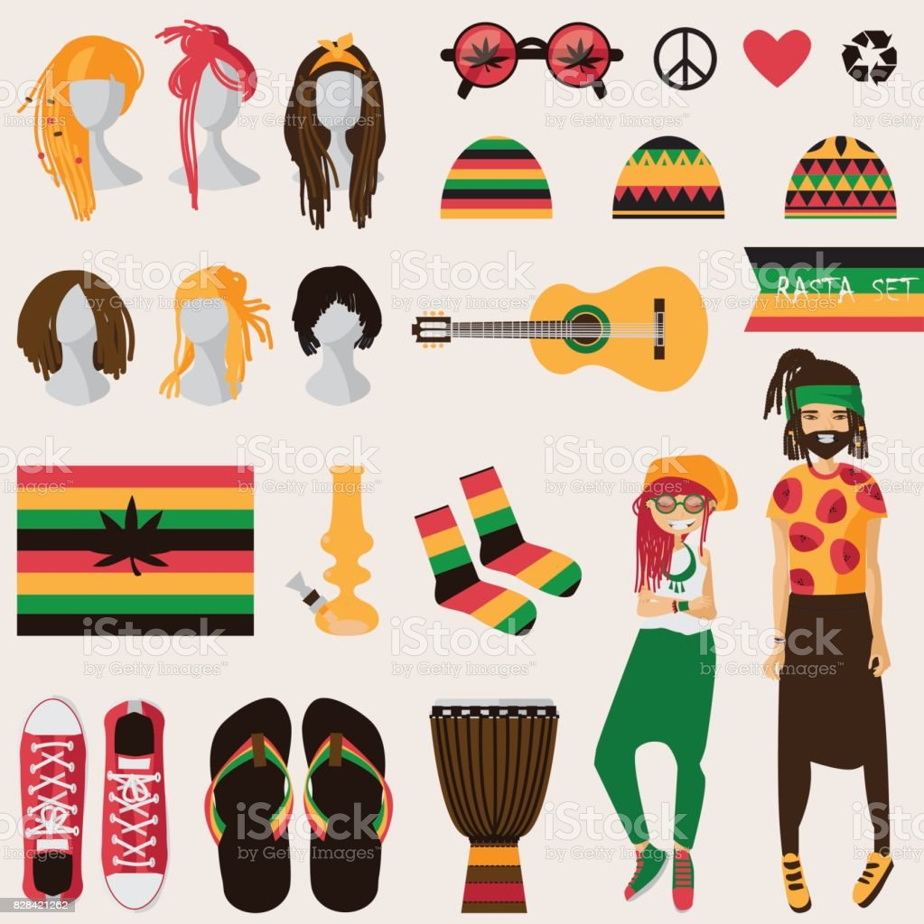 Rastafarian subculture. Couple of young rastaman woman and man vector art illustration