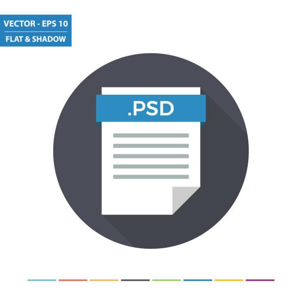 PSD raster image bestand formaat platte documentpictogramvectorkunst illustratie