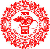 Rat, Chinese zodiac symbol of new 2020 year with greeting text and round frame, which decorated by luxurious pattern in chinese style.  Translation from Chinese : Rat. Vector illustration.