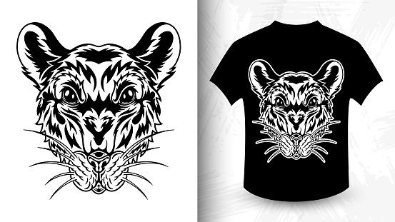 Rat face. Design idea for t-shirt print.