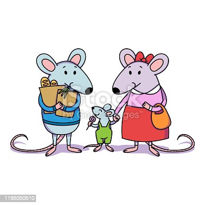 Rat family. Dad holds packages with purchases from the store, mom holds a child by the hand, a little boy with candy. Cartoon animal character vector illustration isolated white background.