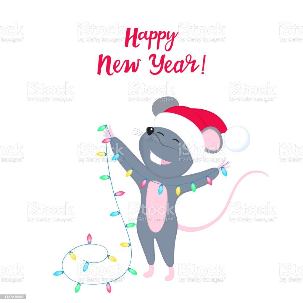 Le Rat Est Un Symbole Du Nouvel An Chinois 2020 Souris Drole De Dessin Anime Dans Le Chapeau Du Pere Noel Les Souris De Sourire Mignonnes Retiennent La Guirlande Legere Pour Decorer