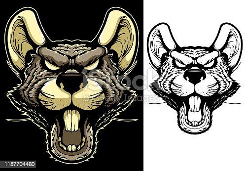istock Rat Mascot Head 1187704460