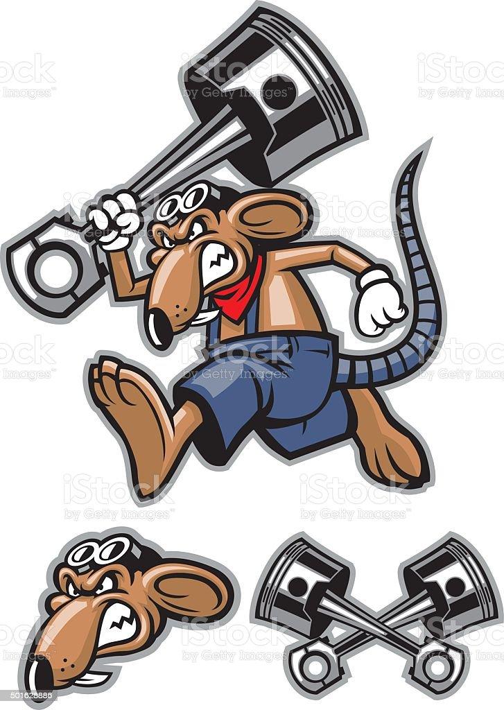 rat mascot holding a big piston vector art illustration