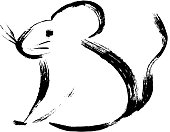 Rat, mice on white background. Lunar horoscope sign mouse. Chinese Happy new year 2020. Year of the rat. Lunar new year. Drawing rat ink