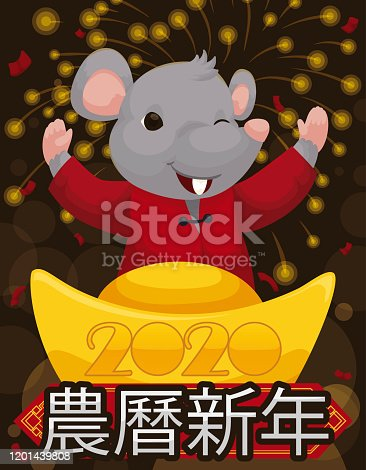 Happy rat wearing traditional clothes over a golden ingot and greeting sign to celebrate Chinese New Year (written in Chinese calligraphy) of the Rat under fireworks display.