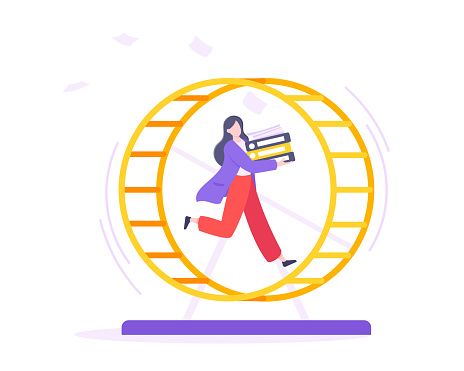 Rat race business concept with businesswoman running in hamster wheel working hard and always busy flat style design vector illustration.