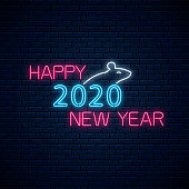 Rat silhouette and happy 2020 new year glowing neon text. 2020 chinese new year symbol seasonal greeting card design, banner in neon style. Vector illustration. Decoration element for design