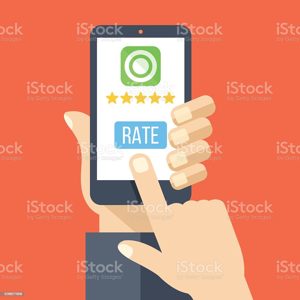 Rate app. Hand holds smartphone with 5 stars, rate button vector art illustration