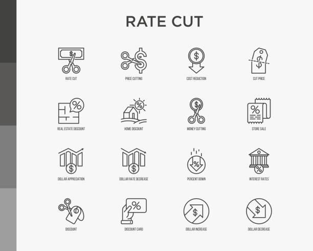 rate geschnitten dünne linie icon-set: senkung preis, kostensenkung, verkauf, rabatt, quittung, treuekarte, zinsen. moderne vektor-illustration. - konsum stock-grafiken, -clipart, -cartoons und -symbole