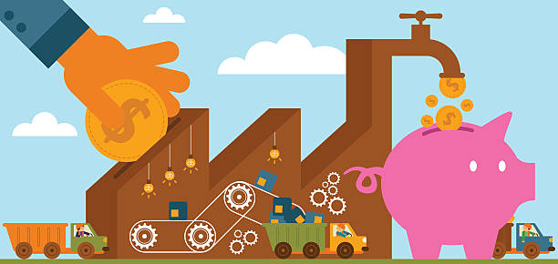Rate Of Return: Manufacturing It's nice to see the company grow! cash flow stock illustrations