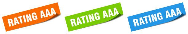 rating aaa paper peeler sign set. rating aaa sticker vector art illustration