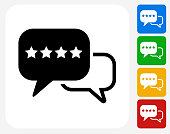Rating and Review Icon Flat Graphic Design