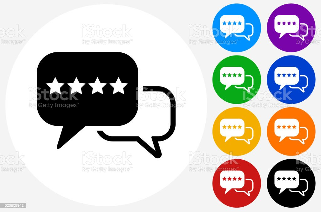 Rating And Review Icon On Flat Color Circle Buttons Stock Vector Art & More Images Of Advice