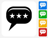 Rating Chat bubble Icon. This 100% royalty free vector illustration features the main icon pictured in black inside a white square. The alternative color options in blue, green, yellow and red are on the right of the icon and are arranged in a vertical column.