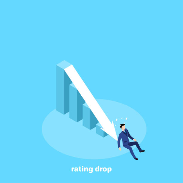 rating drop the man in a business suit fell to the bottom of the chart, an isometric image depreciation stock illustrations