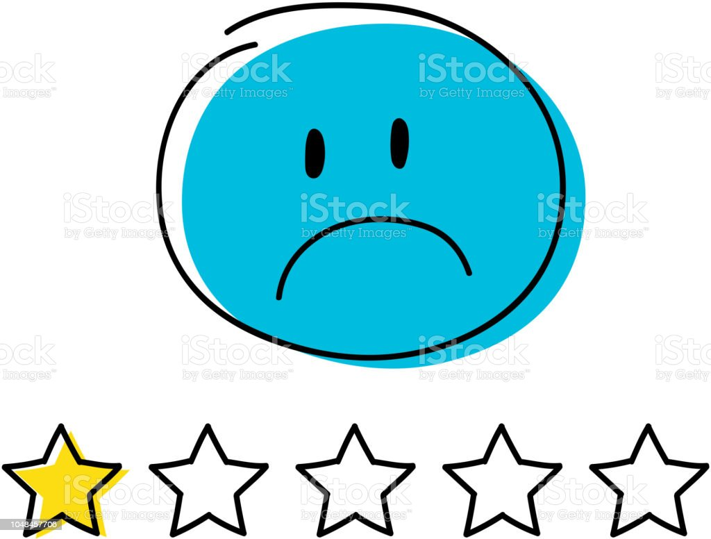 Rating icon - one star. Happy blue coloured  stickman. Vector. vector art illustration