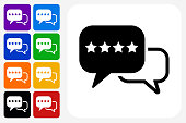 Rating Icon Square Button Set. The icon is in black on a white square with rounded corners. The are eight alternative button options on the left in purple, blue, navy, green, orange, yellow, black and red colors. The icon is in white against these vibrant backgrounds. The illustration is flat and will work well both online and in print.