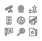 Rating line icons. Evaluation, rate product, recommend, 5 stars, award, positive feedback, rating stars concepts. Simple outline symbols, modern linear graphic elements collection. Vector line icons set