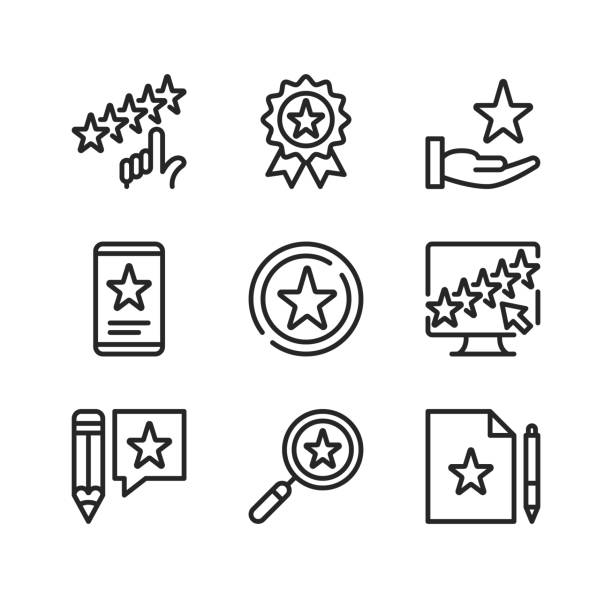 Rating line icons. Evaluation, rate product, 5 stars, award, positive feedback, rating stars concepts. Simple outline symbols, modern linear graphic elements collection. Vector line icons set vector art illustration
