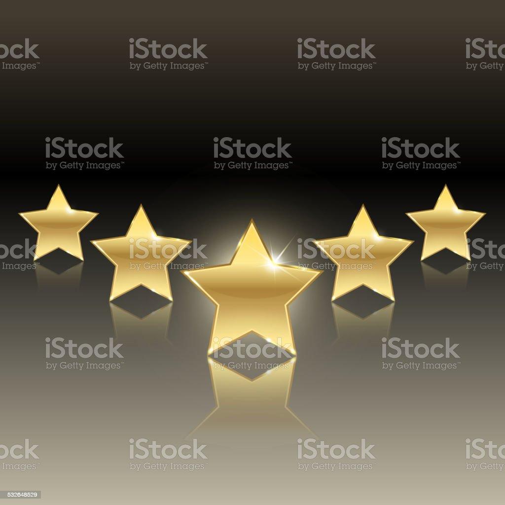 rating of five stars vector art illustration