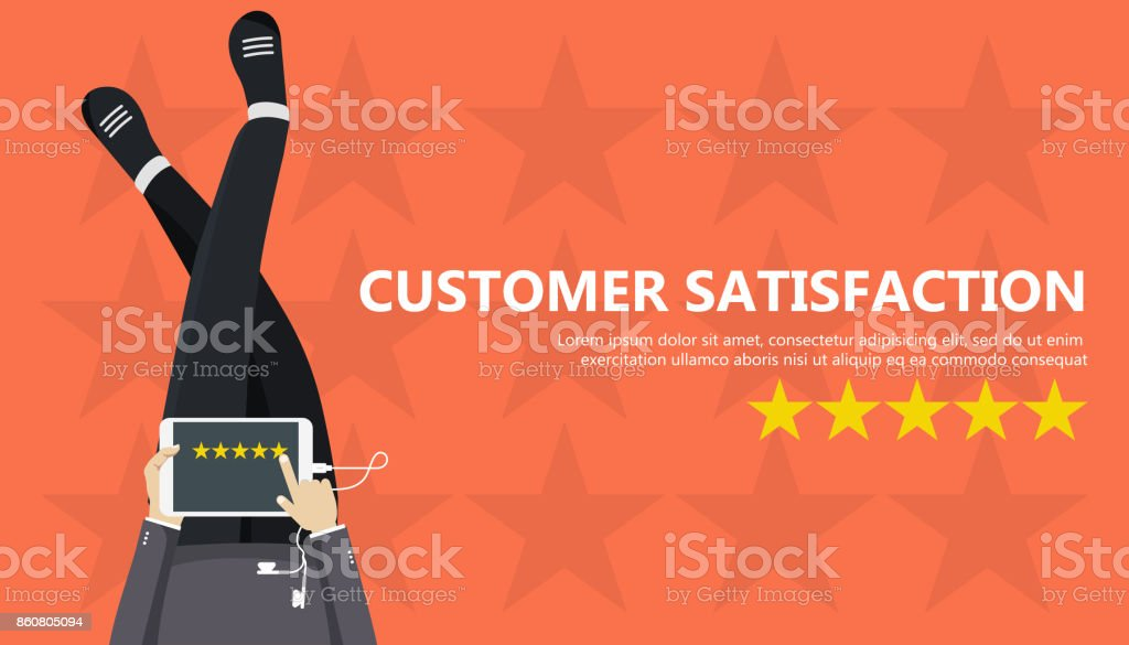 Rating on customer service illustration. Man sitting on the floor and holding tablet in his lap. Website rating feedback and review concept. Flat vector illustration vector art illustration