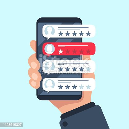 istock Rating review bubble. Reviewers texting on cellphone app, choice bad or good 5 star ratings. Flat vector illustration 1128519027