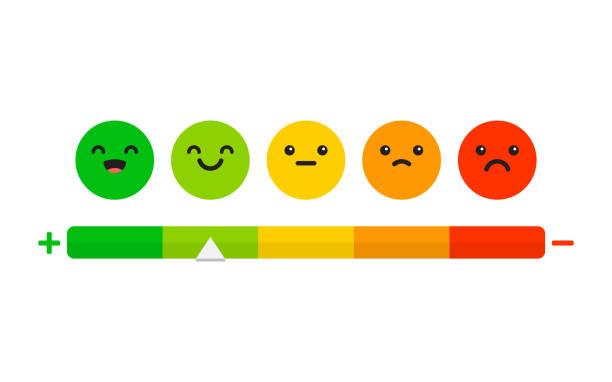 illustrazioni stock, clip art, cartoni animati e icone di tendenza di soddisfazione del rating. feedback in forma di emozioni. - viso