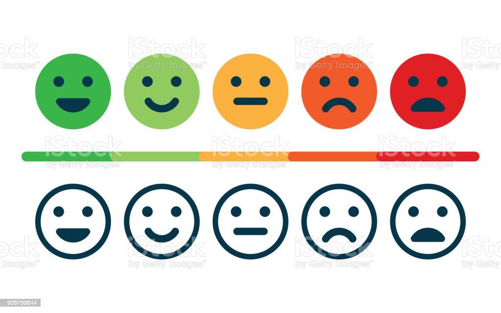 Grado de satisfacción. Retroalimentación en forma de emociones. ilustración de grado de satisfacción retroalimentación en forma de emociones y más vectores libres de derechos de blanco - color libre de derechos