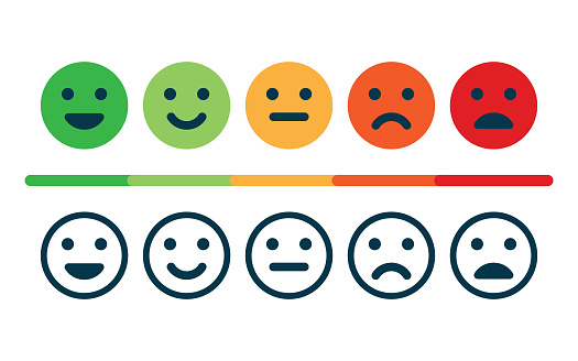 Rating satisfaction. Feedback in form of emotions. clipart