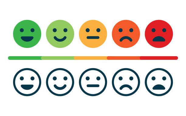 Rating satisfaction. Feedback in form of emotions. Rating satisfaction. Feedback in form of emotions. Excellent, good, normal, bad awful Vector illustration happiness stock illustrations