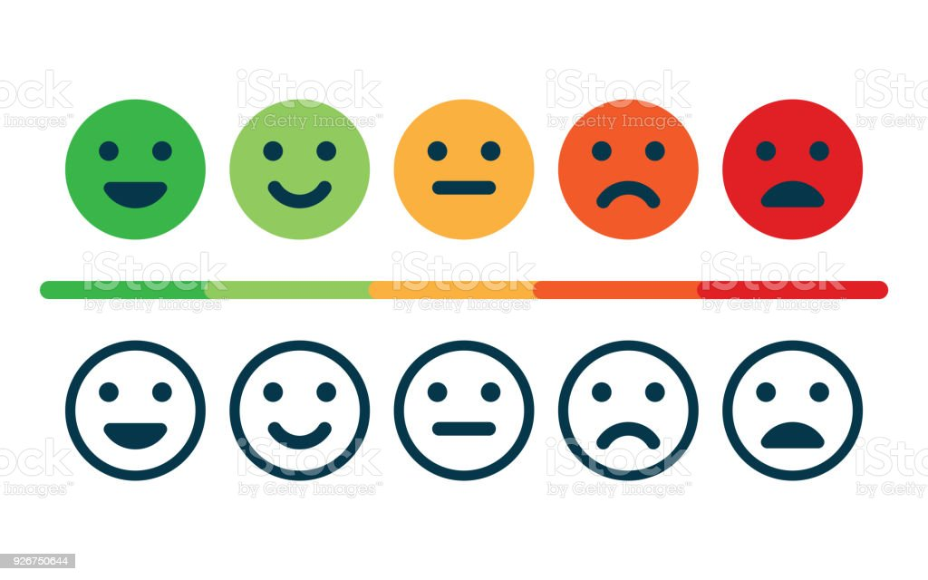 Rating satisfaction. Feedback in form of emotions. vector art illustration
