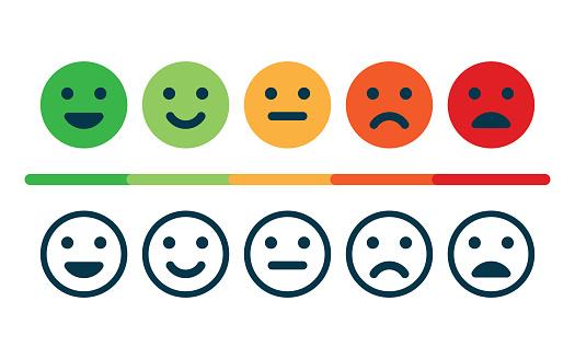 Ilustración de Grado De Satisfacción Retroalimentación En Forma De Emociones y más Vectores Libres de Derechos de Blanco - Color