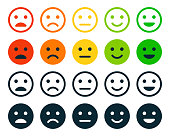istock Rating Satisfaction. Set of Emotion Smiles - Exellent, Good, Normal, Not Good, Bed. Vector Stock Illustration 1278656767