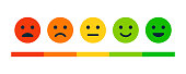 istock Rating Satisfaction. Set of Emotion Smiles - Exellent, Good, Normal, Not Good, Bed. Vector Stock Illustration 1278697205