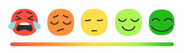 Rating scale with emoji vector art illustration