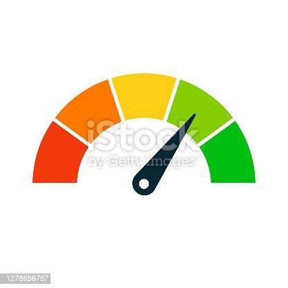 istock Rating Speed Meter Icon - Vector Stock Illustration 1278656757