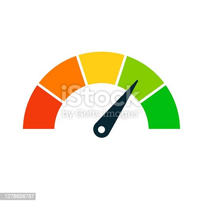 Rating Speed Meter Icon - Vector Stock Illustration