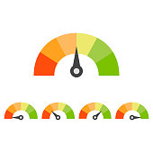 Rating speedometer set. Credit score concept. Vector