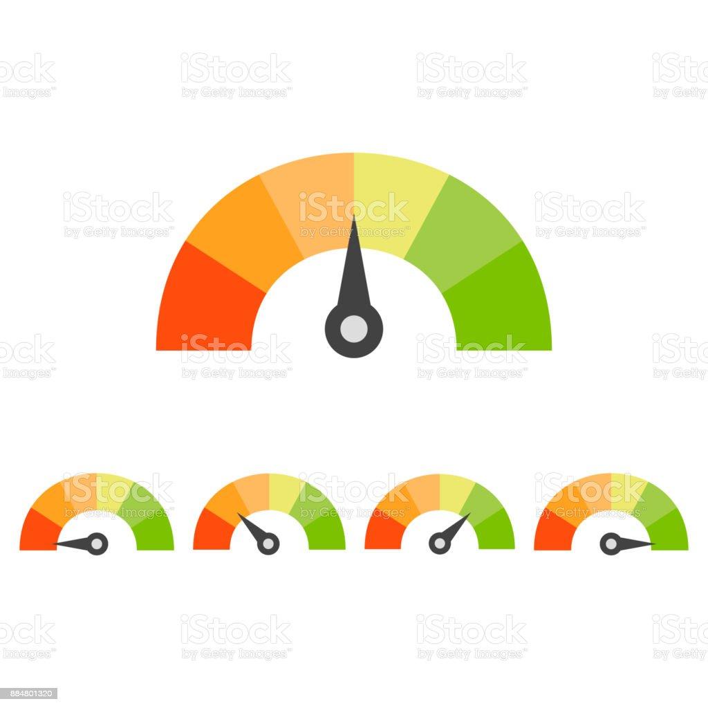 Rating speedometer set. Credit score concept vector art illustration