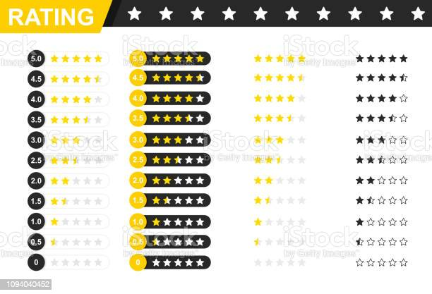 Rating Stars Badges Feedback Or Rating Rank Level Of Satisfaction Rating Five Stars Customer Product Rating Review 5 Star Rating Icon Vector Illustration — стоковая векторная графика и другие изображения на тему Анкета
