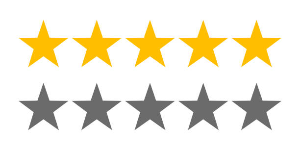 rating stars icons for 5 star rate review. vector web symbols - kształt gwiazdy stock illustrations