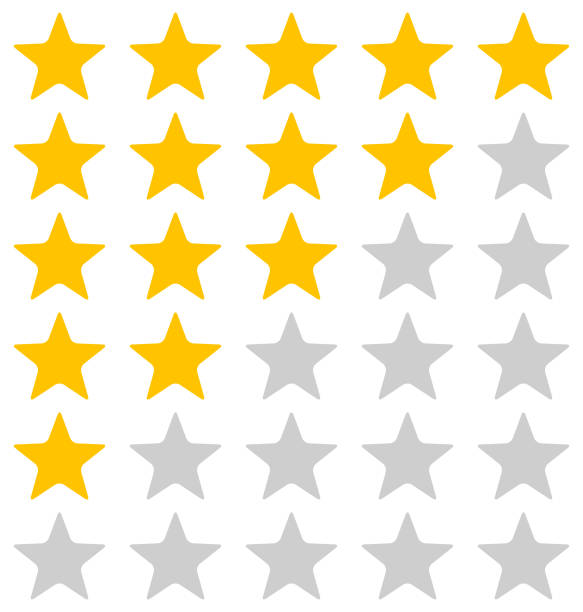 rating stars illustration on white background - evaluation stock illustrations