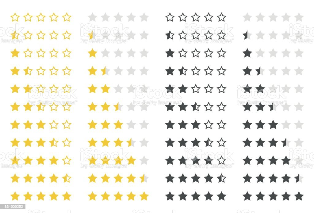 rating stars set vector art illustration